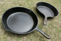 10 1/2INC CAST IRON SKILLET  U.S.スキレット size: ⌀26.3cm×L38.5cm×D5.4cm 各1個