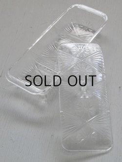 画像1: 透明プラスチック容器 プレス模様/仕切り/蓋付 size: L20.5×W8.5× H4.8