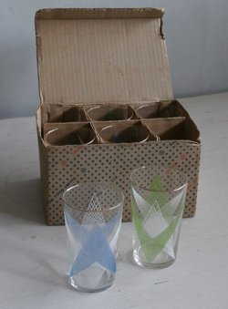 画像1: SASAKI GLASS 幾何学模様 ラバーコーティング ゴールドリム 箱入り6pcグラスセット color: 青/緑