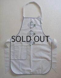 フィッシュ刺繍 ストライプ生地 エプロン size: L71×W52(cm)