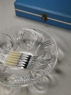 画像1:  サラダ/デザート プレスガラスボウル(Ø24.7)&フルーツフォーク6pc  セット