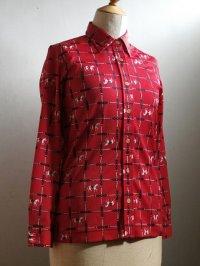 レディース ブラウス/長袖シャツ 白馬&鎖柄  赤 size: 9号