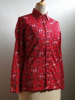 画像1: レディース ブラウス/長袖シャツ 白馬&鎖柄  赤 size: 9号