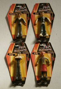 "MTV 「The Osbournes(オズボーンズ)」 キャラクター アクションフィギュア  Fun-4-All ""The Osbourne Family""  Bendable set of 4 (Ozzy,Kelly,Sharon,Jack)"