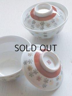 画像1: 蓋付ごはん茶碗/丼茶碗 2pcセット  スノーフレーク柄  size: Ø15.2×H10(cm)