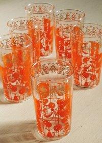 プリントグラス  さくらんぼ/チェリー  オレンジ、ゴールド  各1個