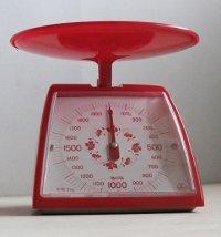 TANITA  クッキングメーター  レッド/フラワーパターン   秤量 2kg 最小目盛 10g   取扱説明書/カロリー表シールあり
