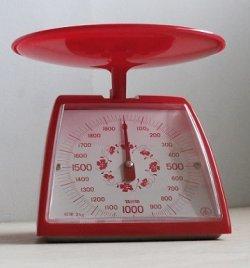 画像1: TANITA  クッキングメーター  レッド/フラワーパターン   秤量 2kg 最小目盛 10g   取扱説明書/カロリー表シールあり
