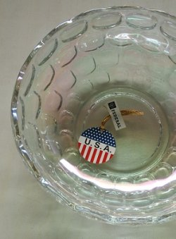 画像1: Federal Glass Iridescent Yorktown(colonial) pattan / フェデラル社 クリアー 玉虫色(オーロラ)  ヨークタウン(コロニアル) ボウル:Ø23.5×H8.2(cm)