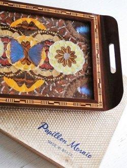 """画像1: BRAZIL ZIP RINHO """"Papillon Mosaic"""" Blue Morpho Wing Inlaid Wood Serving Tray ブラジル製 モルフォ蝶羽モザイク木製お盆 """"パピオン モザイク"""" size:  L41.5×W24(cm)"""