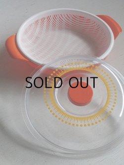 画像1: 蓋付水切り笊ボウル プラスチック オレンジ、幾何学模様(イエロー) size: Ø26(W32)×10(cm)