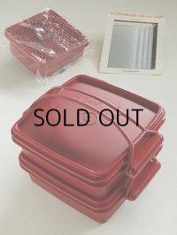 *再入荷* Tupperware タッパーウェア デュエット(二段重ねの重箱タイプのお弁当箱)すのこ2枚&お皿4枚付き   size(1段):L19.2×W16.4×H5.8(cm) 容量(1段):900ml