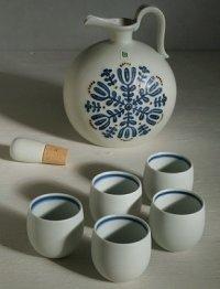白山陶器 ウイスキーセット(ポット1pc/ショット5pc) 白マット花紋
