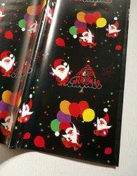 クリスマスラッピングペーパー3枚セット  Santa Claus サンタクロース  size: 52.8×76.5(cm)  color : ブラック