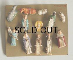 画像1: ART PLASTICS Hand Painted plastic mini Christmas Nativity figurines 12 piece set クリスマス プラスチックフィギュア キリスト生誕 12pcセット