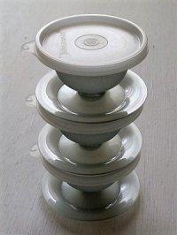 TUPPERWARE タッパーウェア  デザートカップ(シール、スタンド付き)  グレー  各1個