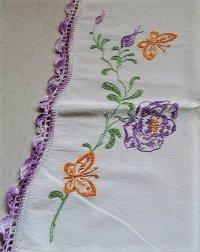 U.S. コットンピローケース トリム付 刺繍(バタフライ&フラワー)