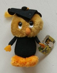 The Professor   Owl Plush Graduation   Wallace Berrie 1980   Hang Tag No. 110   グラデュエーション・ドール フクロウ