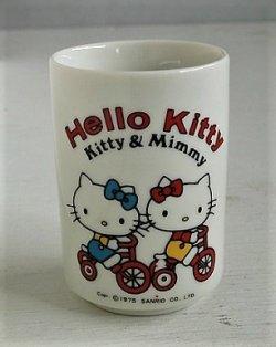 """画像1: SANRIO サンリオ   Hello Kitty ハローキティ  """"Kitty & Mimmy""""  陶器製 湯呑   ©1975 SANRIO CO., LTD."""