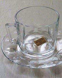 画像1: French arcoroc verre trempé/toughened glass フランス製アルコロック 強化ガラス クリアー カップ&ソーサー