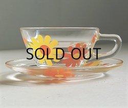 """画像1: BYRON HIROTA GLASS   """"Daisy""""   デイジー カップ&ソーサー   耐熱ガラス   USED"""