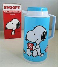 SNOOPY   HAND JUG 1LITTLE   スヌーピー&ウッドストック   color: みずいろ   卓上用魔法瓶 1リットル仕様   箱入りデッドストック