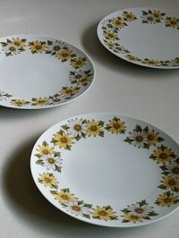 Noritake  Cookin Serve CHINA  japan 6730  MARGUERITE  U.S. DESIGN PAT. 209609  マーガレット柄 プレート3枚セット  size: Φ26.5cm