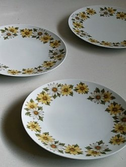 画像1: Noritake  Cookin Serve CHINA  japan 6730  MARGUERITE  U.S. DESIGN PAT. 209609  マーガレット柄 プレート3枚セット  size: Φ26.5cm