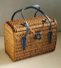 竹編みバスケット/ハンドバック  ハンドル:合皮  チェーン、金具付