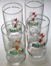 リボンシトロン・リボンオレンジ  RIBBON リボンちゃん ノベルティグラス  赤/オレンジ  各1個