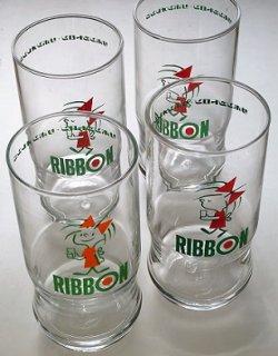 画像1: リボンシトロン・リボンオレンジ  RIBBON リボンちゃん ノベルティグラス  赤/オレンジ  各1個