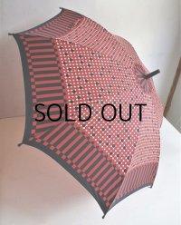 プッシュボタン式雨傘  ドット&長方形(赤/紺)柄  size: Φ89cm / L70.5cm   ナイロン100%