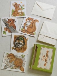 LI'L BUDDIES   NOTE CARD & ENVELOPES 5DESIGNS   Nashville Educational Marketing Services   ノートカード(17枚)&封筒(16枚)    アライグマ、リス、ビーバー、ウサギ、クマ