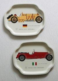 YASUDA AUTO INSURANCE.  ©RION PRESS  クラッシックカー ティンプレート  1929 SSK MODEL MERCEDES-BENZ   1931 17/95 ALFA ROMEO  2pcセット