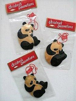 画像1: Christmas Decoration  笹の葉製クリスマスオーナメント  パンダ  各1個