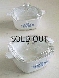 コーニングウェア  ミニキャセロール  プリント:ブルーコーンフラワー  size: W13/W17.5(ハンドルを含む) /H10.3 (cm)  2pcセット   CORNING WARE P-43-B  700ml Blue Cornflower Handled Pan /Petite Pan Casserole Dish