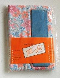 READY-TO-SEW Tee-Set   ティートップ縫物セット  内容: フラワープリント生地/ブルーリブ用生地