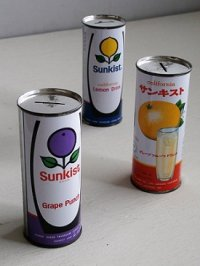 california Sunkist  Grape Punch/ Grapefruit Drink/ Lemon Drink  サンキスト缶 貯金箱  各1個