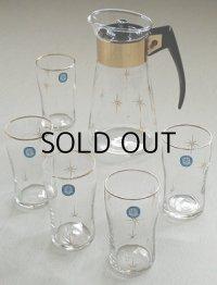 """CORNING HEAT-PROOF GLASS  コーニングウェア コーヒーカラフェ(4杯仕様)  SASAKI GLASSWARE  グラス(ゴールドリム付)4コ ※写真では5つです。  """"Atomic Starburst (アトミック・スターバースト)"""" ゴールドプリント5pcセット"""