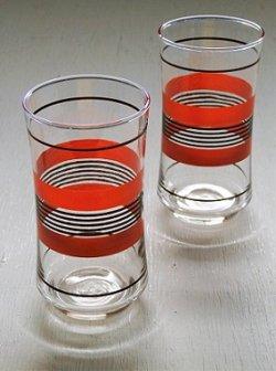 画像1: Libbey Glass リビーグラス  ストライプ(朱色/黒)  size: Φ6.7×H13.2×Φ5.1(cm)  2pcセット