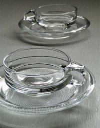 クリアガラス カップ&ソーサ  Cup:Φ9.2 (ハンドル含む12)×H4(cm)/ Soucer:Φ16.3×H1.8(cm)   2客セット