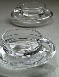 画像1: クリアガラス カップ&ソーサ  Cup:Φ9.2 (ハンドル含む12)×H4(cm)/ Soucer:Φ16.3×H1.8(cm)   2客セット