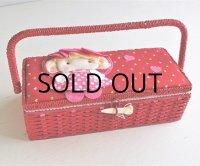 裁縫箱/ソーイングボックス  女の子/ハート  color: 赤/ピンク   size: L34.5×W15.5×H11 (cm)