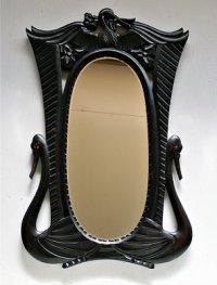ウッドカービングフレーム ウォールミラー  壁掛け鏡  バード&フラワー