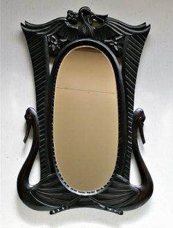 画像1: ウッドカービングフレーム ウォールミラー 壁掛け鏡  フレームデザイン:バード&フラワー  size: L72×W45.2×D1.8(cm)