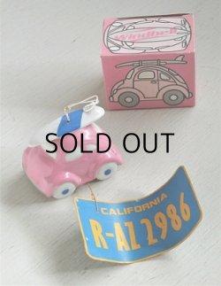 画像1: SANRIO サンリオ Windbell 風鈴  ピンクのワーゲン/サーフボード/CALIFORNIA ナンバープレート  素材:セラミック/紙
