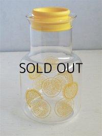 PYREX パイレックス  MADE IN JAPAN  IWAKI GLASS UNDER LIC   スライスレモン柄  カラフェ  top⌀9.7cm・H22cm・bottomΦ12.5cm
