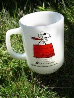 画像1: Fire-King ファイヤーキング  9ozマグカップ  スヌーピー  レッドバロン