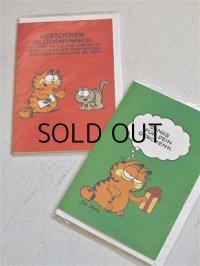 グリーティングカード  Garfield ガーフィールド  ドイツ語仕様  グリーン: danke für dein geschenk  レッド: Herzlichen Glückwunsch  2セット