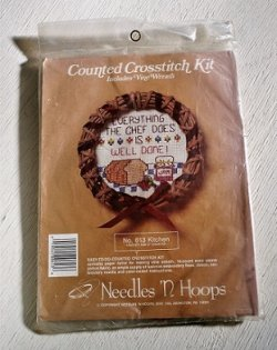 画像1: Counted Crosstitch Kit Includes Vine Wreath  クロスステッチキット つるの花輪   No.613 Kitchen キッチン Needles 'N Hoops